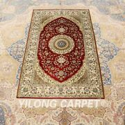 Yilong 2.5and039x4and039 Handwoven Silk Red Carpet Small Size Home Indoor Area Rug 159a