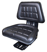 Universal Replacement Tractor Seat With Slides And Suspension Black