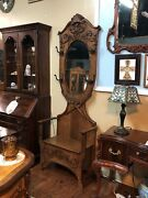 American Oak Hall Tree – W/lift Up Seat For Storage Heavily Carved Decoration