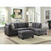 Light Charcoal Linen Contemporary Living Room Furniture L Shape Sectional Sofa