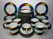Mikasa China Currents M5101 Pattern 54 Pc Set Cup/dinner/salad/soup - Some Wear