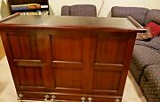 Antique / Vintage Wooden Drink Service Bar With Foot Rails Folds And Rolls