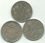 Nice Lot 3 Great Britain Half Crown Coins-1948,1950,1961-agt500