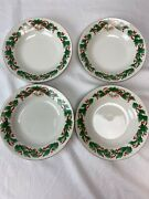 Set Of 4 Sango Noel 1990 Red Green Holly Christmas Soup Bowls 8