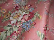 Beautiful Antique Cottage Floral Roses Polished Cotton Fabric 2coral Pink Blue