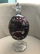 Gorgeous Ruby Cut To Clear Bohemian Art Glass Footed Candy Dish Vase W/ Lid