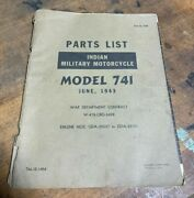 1943 Original Indian Military Motorcycle Parts List Book Model 741