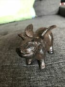 Antique Cast Iron Flying Pig 4andrdquo Gd Condition Handmade