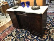 1930-40and039s Antique Flamed Mahogany Sideboard/server With White Marble Top