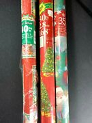Vintage Christmas Gift Wrapping Paper Lot Of 3 Rolls Santa Tree Usa Sealed
