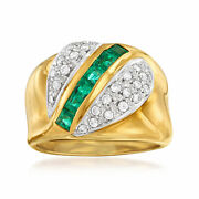 Vintage Emerald And Diamond Ring In 18kt Gold Size 7