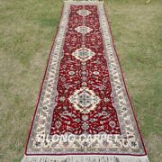 Yilong 2.5and039x10and039 Red Handwoven Silk Rug Runner Hallway Gallery Carpet Tj135a