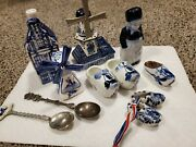 Lot Of Delft And Dutch Items. Salt And Pepper Shakers, Shoes, And Others
