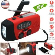 Hand Crank Dynamo Wind Up Solar Portable Am Fm Radio Usb Charger Light Torch Red