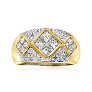 C. 1980 Vintage 2.00 Ct. T.w. Diamond Ring In 18kt Yellow Gold. Size 6.5