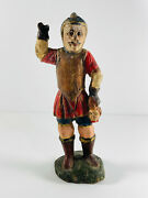 Antique Wooden Handcarved Roman Soldier Warror With Severed Head Folk Art Italy