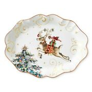 Williams Sonoma Twas The Night Before Christmas Reindeer Scalloped Oval Platter