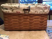 2010 Longaberger Sort And Store Tall Wall File Basket W/ Botanical Fields Liner