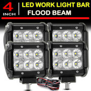 4x 4inch Led Work Light Bar Cube Flood Driving Fog Pods Drl Offroad Wire Harness