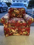 2 Great Comfortable Kravet Club Swivel Chairs Custom Floral Red Yellow Round Arm