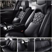 Full Car Seat Cover Interior Leather Waterproof 5-seats Truck Auto Suv Protector
