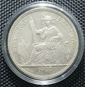 1907 Indo-chine Francaise Piastre De Commerce Silver Coin Ø 37mm+1 Coin10707