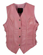 Ladies Braided Side Laces Motorcycle Soft Pink Leather Concealed Carry Vest