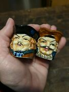 Two Toby Face Mugs Made In Japan