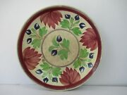 Antique Floral Spongeware Plate In Red And Green Fruit Bowl Rice Dish Platef162