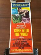 Gone With The Wind Original Vintage 1954 Re-release Movie Poster Insert 14 X 36