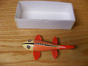 C Hines Heddon Style Fish Decoy Leather Fins In Ivory Red Scales Color
