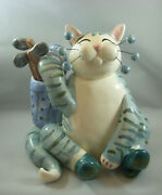 Annaco Creations Retired Whimsiclay Large Cat Golfer By Amy Lacombe 28328 Nib