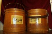 Antique Currier And Ives Wood Firkin Sugar Buckets With Lids - Sold Separately