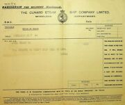 Rms Mauretania Radiogram Wireless Cunard 1928 To Johnnie From Mouse