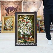 Yilong 1.4and039x2.3and039 Handknotted Wool Silk Carpet Traditional Floral Tapestry Gt010