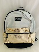 🌟nwt Victorias Secret Pink Bling Iridescent Silver/gold Sequin Campus Backpack