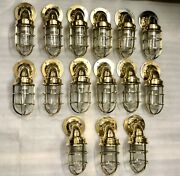 Brass American Antique Wall Sconce Light Fixture Nautical Vintage Style 15 Piece