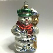 Glass Christmas Ornament Snowman Nordstrom Birds Broom Green Hat Red Scarf