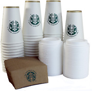 Starbucks White Disposable Hot Paper Cups 16 Ounce Sleeves And Lids Pack Of 50