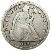 1859-s Seated Liberty Silver Dollar 1 Coin - Anacs F12 Details - Rare Date