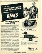 1956 Print Ad Of Deeks Rubber Duck Hunting Decoys