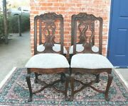 Set Of 4 French Antique Louis Xv Carved Oak Dining Chairs With New Upholstry