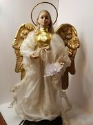 Vintage 24 Animated Christmas Angel Gold Tone Wings And Arm Moves Star Lights Up