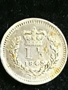 1843  Great Britain 1 And 1/2 Pence - Queen Victoria 1st Portrait Silver