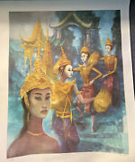 George Russin Siamese Dancers Artwork Lithograph Signed Numbered And Titled.