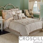 Croscill Rose Garden 4pc Comforter Embroidered Set New Oversized And Overfilled