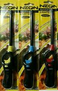 Neon Multi-purpose Refillable Lighters Fireplace Grill Gas Stove Bbq 3 Packs