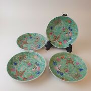 Antique Set Of 4 Chinese Porcelain Saucer Dishes Qing Dynasty Guangxu Marks