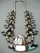 Very Rare Vintage Zuni Signed Turquoise Sterling Silver Squash Blossom Necklace