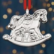 2020 Reed And Barton Babyand039s 1st Christmas Rocking Horse Sterling Ornament - New
